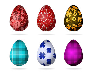 Set of color bright Easter eggs. Colorful Easter Eggs