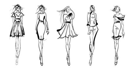 Stylish fashion models. Pretty young girls. Fashion girls Sketch Wall mural