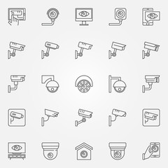 CCTV icons set - vector camera concept line symbols
