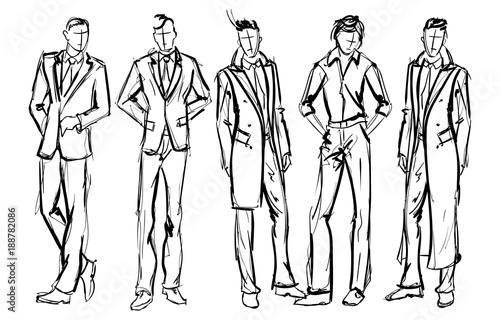 Fashion man. Set of fashionable men\u0027s sketches on a white