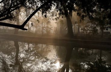 People walk by a lake at a public park on a foggy winter morning in New Delhi