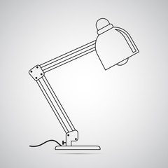 Carved silhouette flat icon, simple vector design. Office table lamp. Illustration for furniture, interior and lighting. Symbol of table work
