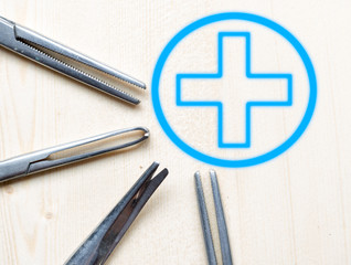 scissors for doctor  and symbols medical