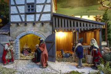 Nativity figures, Christmas market, Nuremberg, Middle Franconia, Bavaria, Germany, Europe
