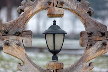 Street lantern in a wooden frame
