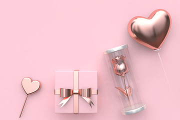 gift box rose inside jar  balloon heart love valentine concept 3d rendering