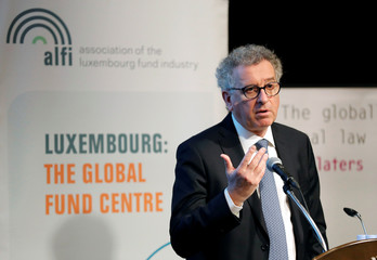 Luxembourg's FM Gramegna makes a speech at the Association Of The Luxembourg Fund Industry's Asia Roadshow event in Tokyo