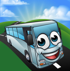 Coach Bus Cartoon Character Mascot Scene