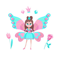 Little magic elf. Beautiful girl with butterfly wings. Vector illustration. Isolated on a white background.