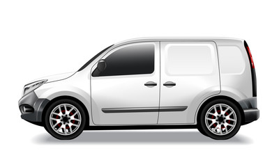 Vector commercial car delivery cargo van mockup.