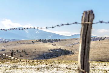 rural mountain fields landscape