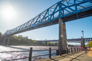 Quayside along Tyne River, in Newcastle with King Edward VII Bridge