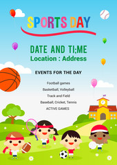 Sports Day Poster Vector illustration. Kids playing sports in spring field
