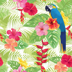 Tropical seamless pattern with hibiscus flower, macaw, bird of paradise and leaf on green background. Vector set of exotic tropical garden for wedding invitations, greeting card and fashion design.