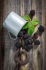 Freshly harvested blackberry in the old metal mug