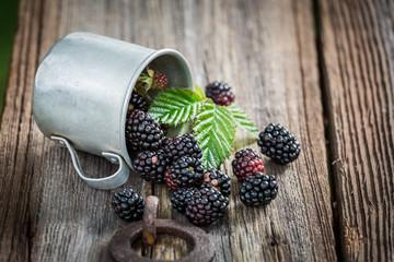 Juicy blackberry in the old metal mug