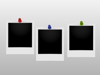 Vector image of three retro photo frame.