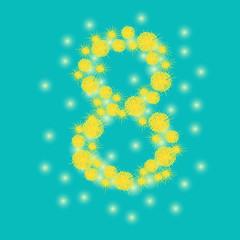 8 of mimosa flowers. International Womens Day