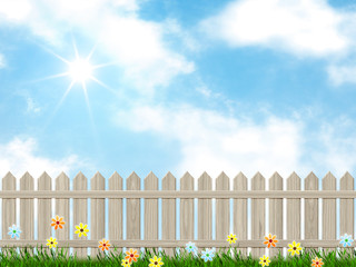 blue sky and a fence background