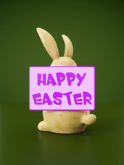 sweet easter bunny figure with message happy easter