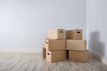 Room With Stack Of Cartons