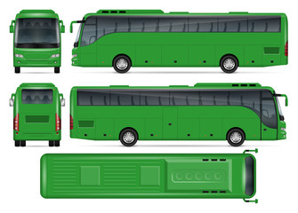 Green bus vector mock up for advertising, corporate identity. Isolated template of coach bus on white background. Vehicle branding mockup. Easy to edit and recolor. View from side, front, back, top.