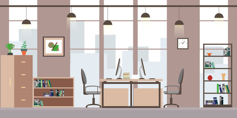 Modern office or coworking workplace,flat interior and furniture