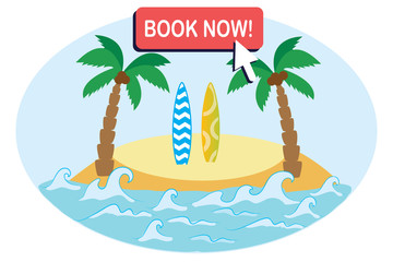 Tropical ocean island with sand,palm trees and surfboard,button- book now