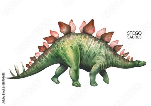 Realistic watercolor dinosaur