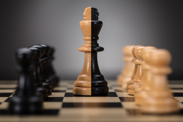 King And Pawns On Chess Board