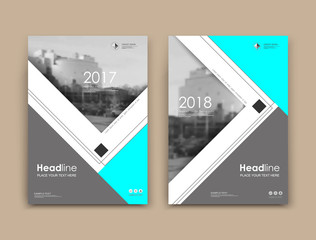 White, black a4 brochure cover design. Fancy info banner mockup. Title sheet model set. Modern vector front page art. Urban city house texture. Blue triangle, line frame, logo icon. Ad flyer text font