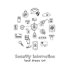 Hand drawn doodle security information set.