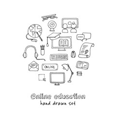 Hand drawn doodle online education set.