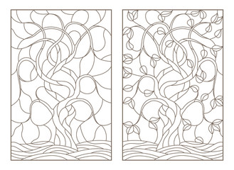 Set contour illustrations of stained glass with the image of the trees, dark contours on white background