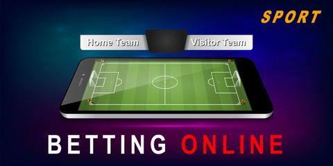 Smart phone as football field. vector sport betting banner