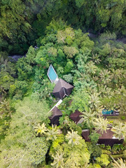Soft and bright colors of the photo, river, village, infinity pool. The jungle in Ubud on the island of Bali. Top view from the drone.