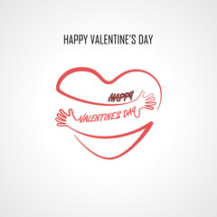 Happy Valentine's Day typographical design elements and Red heart shape with hand embrace.Hugs and Love yourself sign.Health and Heart Care icon.Happy valentines day concept