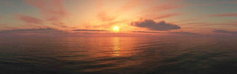 Panorama of sea sunset, ocean sunrise, seascape