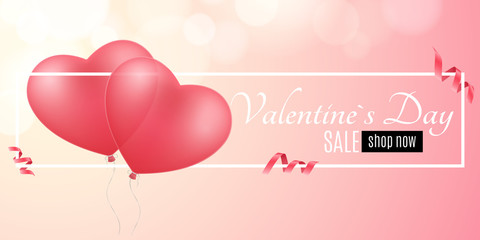 Poster for Valentines day sale. Red balloons of the heart. Romantic shopping. Love composition. Seasonal sale, special offer. White frame banner with text. Vector