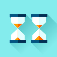 Hourglass icons set in flat style, sandglass on blue background. Vector design elements for you business project