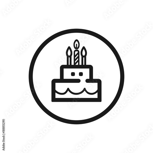 Birthday Cake Line Icon On A White Background Fichier Vectoriel