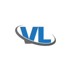 Initial letter VL, overlapping swoosh ring logo, blue gray color