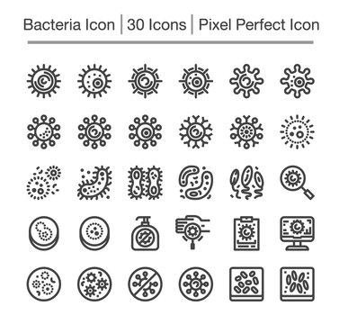 bacteria line icon set