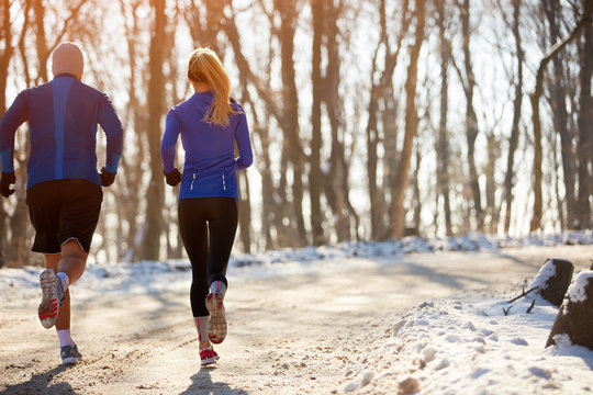 Couple jogging in nature