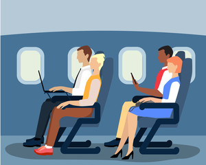 Airline passengers on the plane vector flat illustration