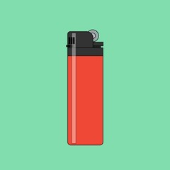 Lighter vector icon in flat style. Manual, gas lighter in flat style.