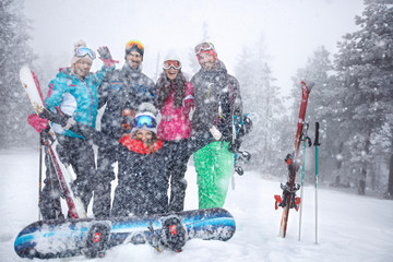 Group skiers in snowy mountain together