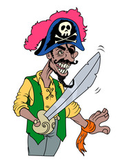 Pirate smiling with sword and eye patch. Vector illustration
