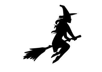 Silhouette of a witch flying, riding a broom. Vector illustration