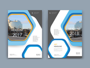 White book binder mockup. A4 brochure cover design. Title sheet model set. Modern vector front page art. Urban city house board. Blue, yellow frame, hexagon figure, brand logo icon. Ad flyer text font